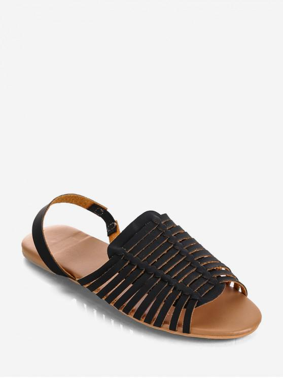 shops PU Leather Slingback Flat Huarache Sandals - BLACK EU 39