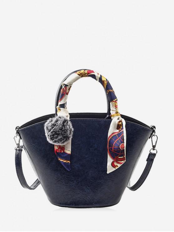 sale Pom Pom PU Leather Bucket Bag with Silk - DARK SLATE BLUE