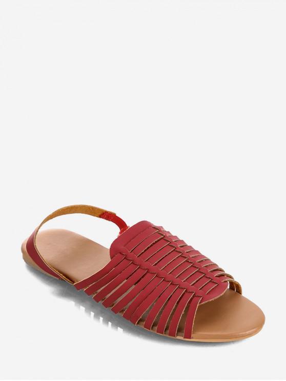 women PU Leather Slingback Flat Huarache Sandals - RED WINE EU 42