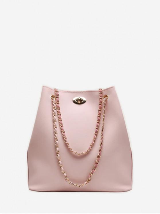กระเป๋าสะพายโซ่ถังสั้น - สีชมพู
