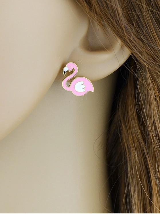 outfit Cartoon Flamingo Drop Glazed Stud Earrings - LIGHT PINK