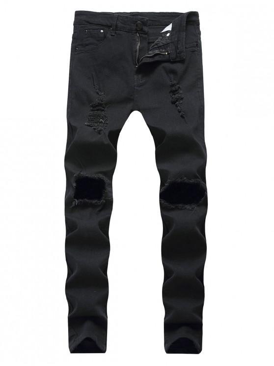 Destroyed Decoration - Slim Jeans mit Reißverschluss - Schwarz 32