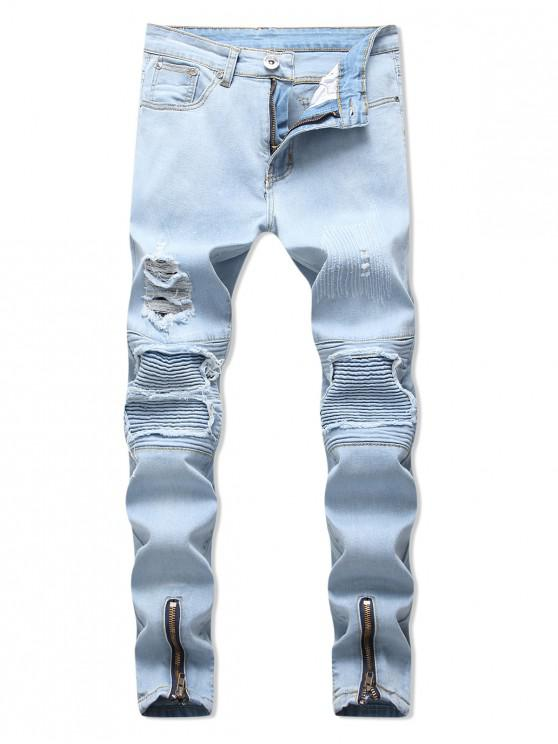 拉鍊披肩裝飾撕開牛仔褲 - 牛仔布藍色 34