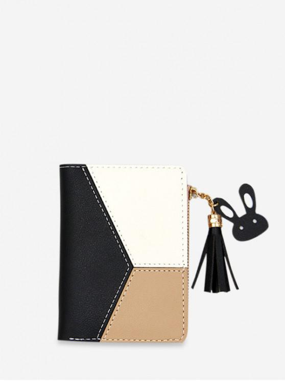 hot Color Block PU Leather Card Holder - BLACK