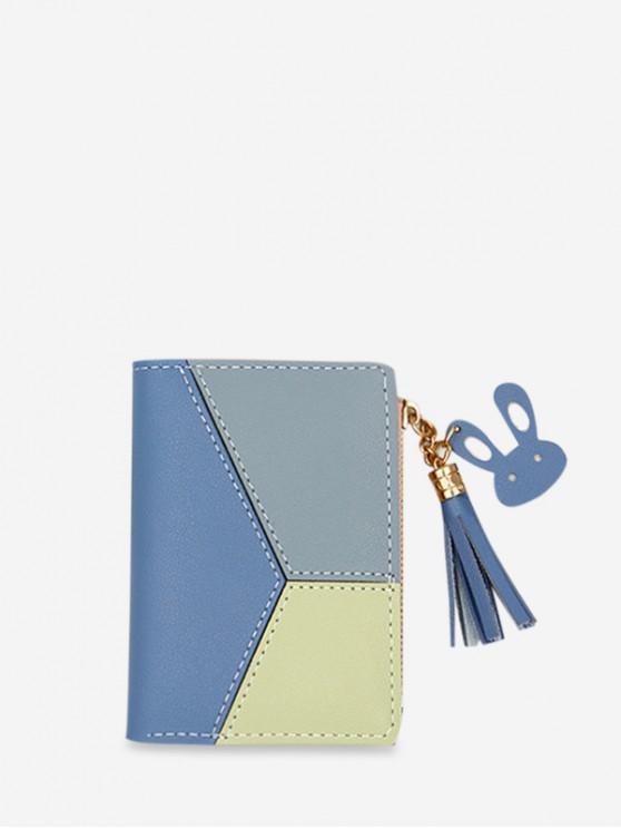 ซองใส่บัตรหนัง PU สีบล็อคสี - ไหมสีฟ้า
