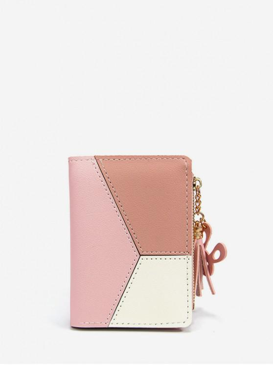 outfits Color Block PU Leather Card Holder - PINK
