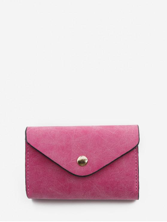 women's Snap Button PU Leather Card Bag - ROSE RED