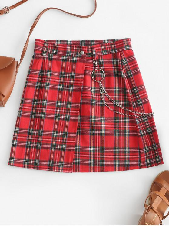 shop Chain Plaid Wrap A Line Mini Skirt - RED S