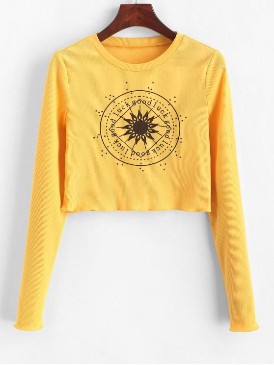 Укороченная футболка с листьями салата ZAFUL - Золотарник S