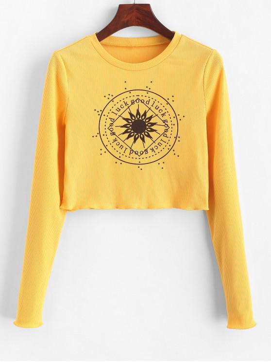 Укороченная футболка с листьями салата ZAFUL - Золотарник L