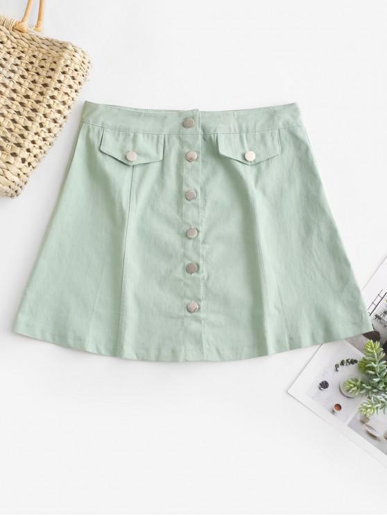 latest Button Fly A Line Mini Skirt - LIGHT GREEN S