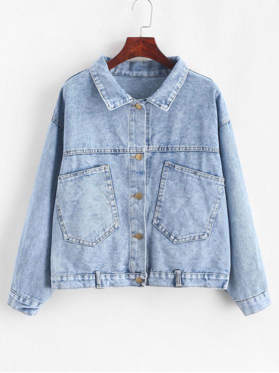 best Patched Pockets Button Front Denim Jacket - BLUE L