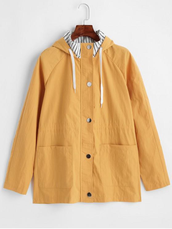 womens ZAFUL Pocket Striped Raglan Sleeve Hooded Jacket - BEE YELLOW L