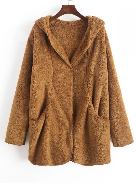 Couleurs variées plus grand choix officiel de vente chaude Manteau de nounours à capuchon de couleur unie poches WHITE LIGHT BROWN  GREEN