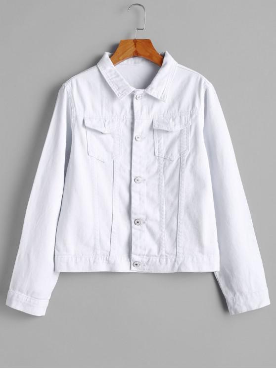 unique Flap Pockets Button Front Denim Jacket - WHITE M
