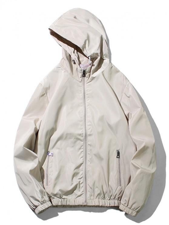 hot Solid Color Zipper Pocket Hooded Jacket - LIGHT KHAKI XS
