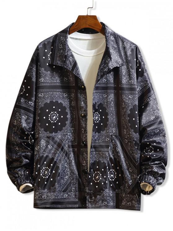 unique Bandana Floral Paisley Print Drop Shoulder Button Jacket - BLACK XL