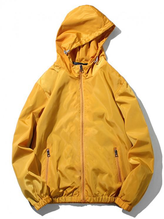 chic Solid Color Zipper Pocket Hooded Jacket - BEE YELLOW XS