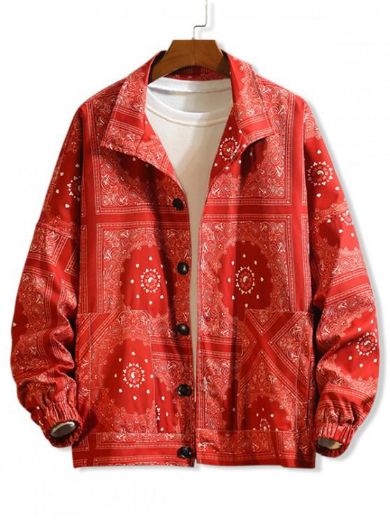 outfit Bandana Floral Paisley Print Drop Shoulder Button Jacket - RED 4XL