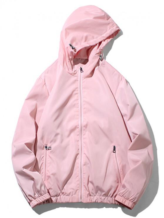 Jaqueta com capuz de bolso com zíper e cor sólida - Rosa Claro XS