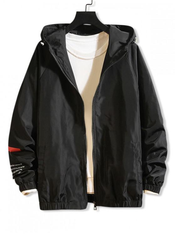 fancy Letter Graphic Print Raglan Sleeve Hooded Jacket - BLACK M