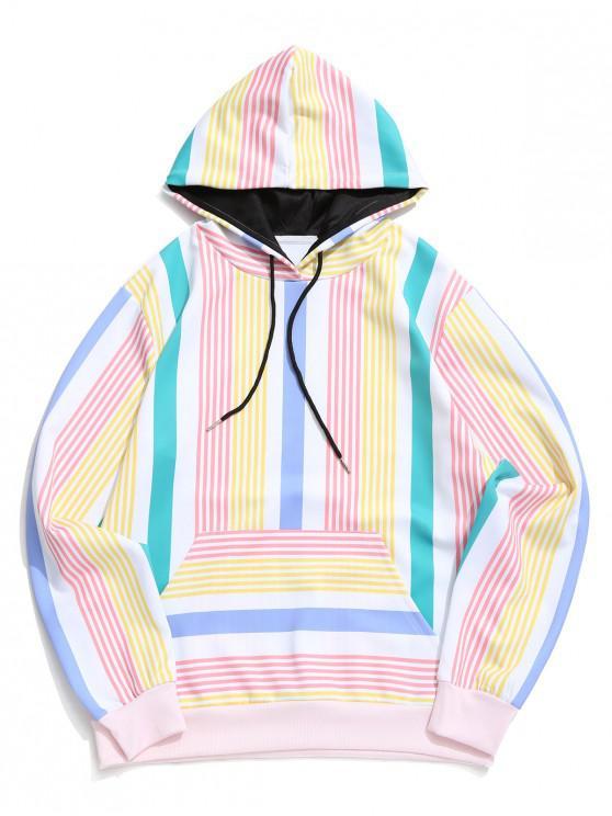 women Striped Pattern Kangaroo Pocket Hoodie - MULTI-A M
