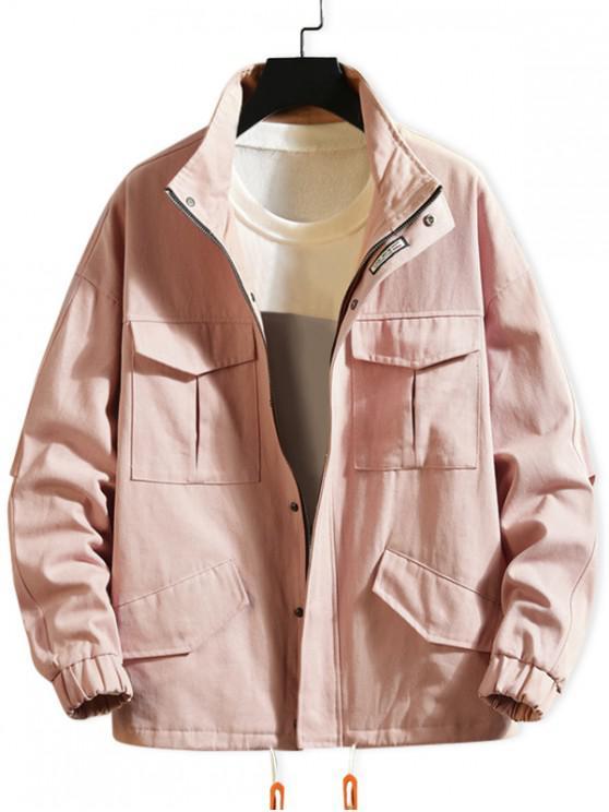 Cor sólida Flap Pocket Drawstring Drop Jacket Ombro - Rosa de Porco 2XL
