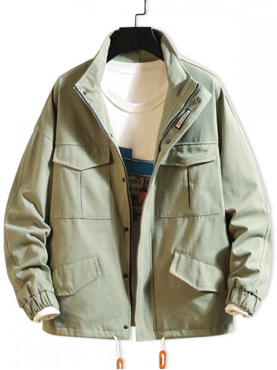 womens Solid Color Flap Pocket Drawstring Drop Shoulder Jacket - ARMY GREEN 2XL