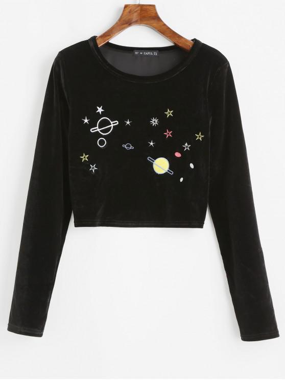 womens ZAFUL Planet Star Embroidered Velvet Crop T-shirt - BLACK XL