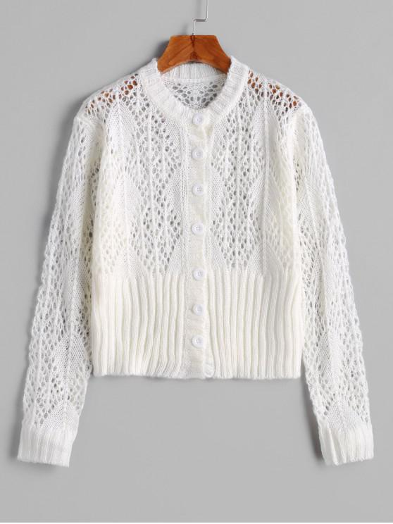 new Solid Pointelle Knit Button Front Cardigan - WHITE ONE SIZE
