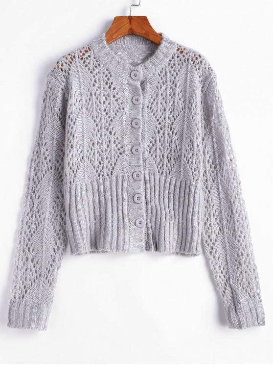 new Solid Pointelle Knit Button Front Cardigan - LIGHT GRAY ONE SIZE