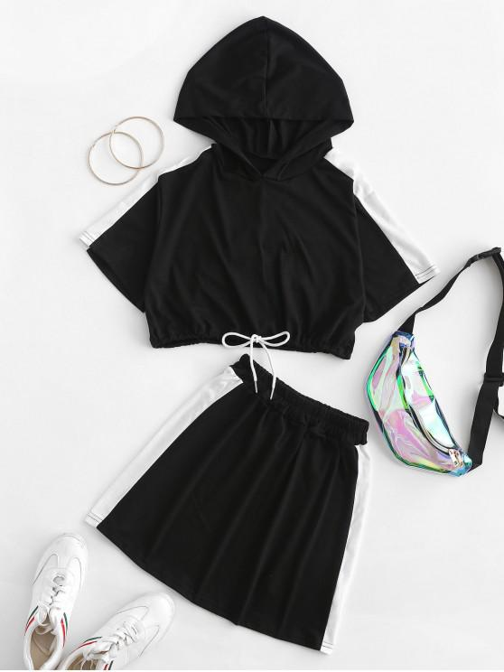 shop Drawstring Contrast Hooded Cropped Two Piece Dress - BLACK XL