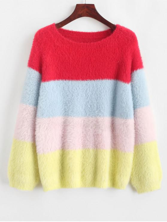 chic Color Block Raglan Sleeve Fuzzy Knit Sweater - MULTI-A L