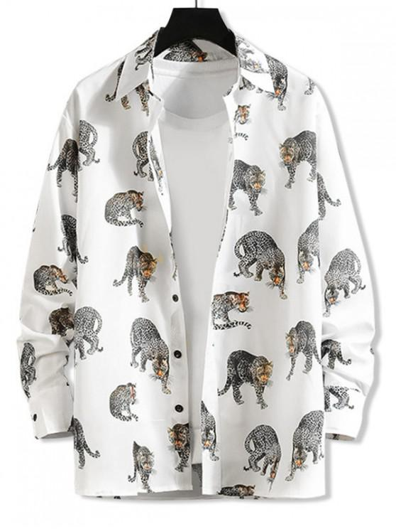 lady Leopard Allover Print Long Sleeve Shirt - WHITE M