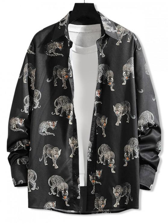 buy Leopard Allover Print Long Sleeve Shirt - BLACK 4XL