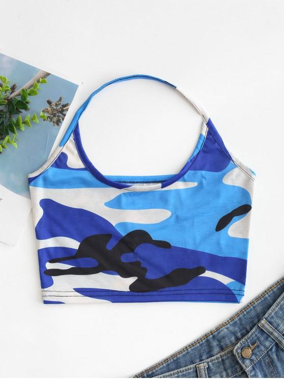 ladies Camouflage Print Crop Halter Top - MULTI-A XL