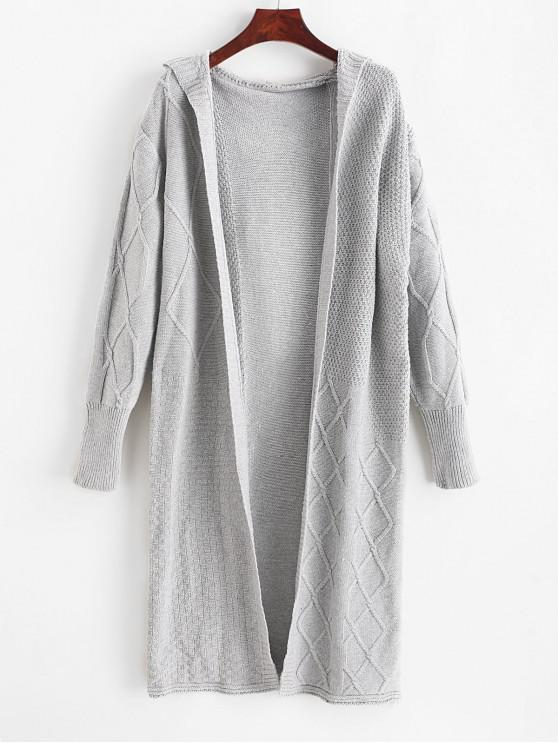 shop Cable Knit Extra Long Hooded Cardigan - GRAY ONE SIZE