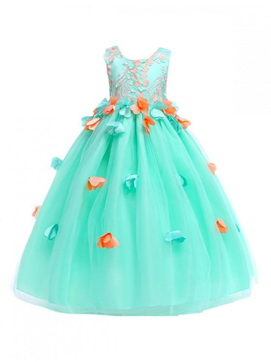 outfit Flower Pattern Sleeveless A Line Tulle Dress - GREEN 110