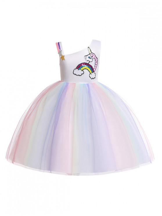 unique Unicorn Rainbow Pattern Sleeveless A Line Tulle Dress - PURPLE 140