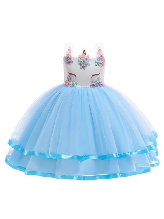 women Unicorn Flower Pattern Sleeveless A Line Tulle Dress - BLUE 110