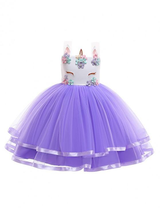 outfit Unicorn Flower Pattern Sleeveless A Line Tulle Dress - PURPLE 140