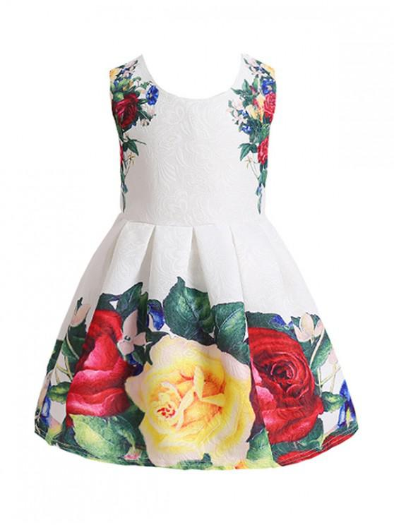 womens Flower Design Sleeveless A Line Dress - WHITE 110