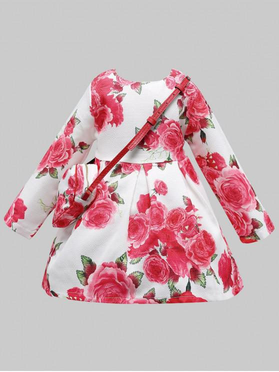 outfits Flower Pattern Long Sleeve A Line Dress with Bag - RED 130
