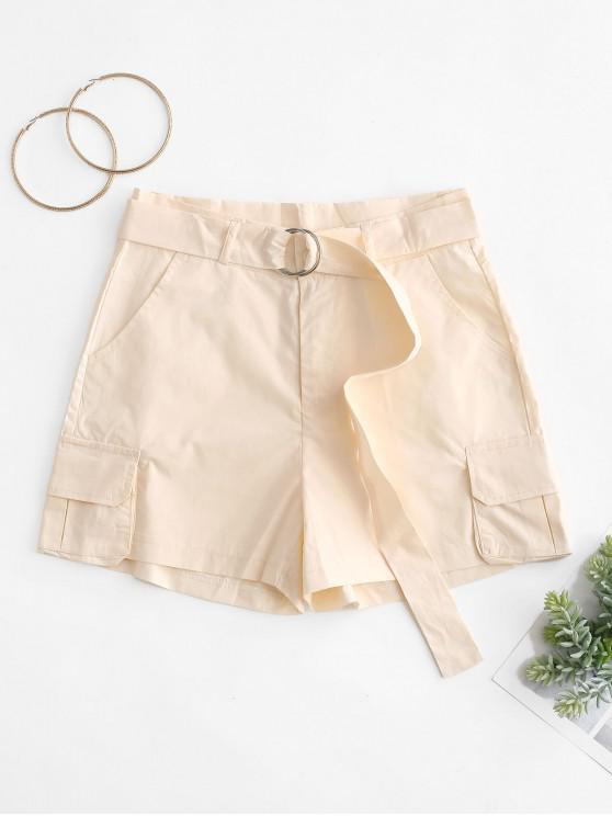 online Pockets Solid Color Belted Shorts - APRICOT XL
