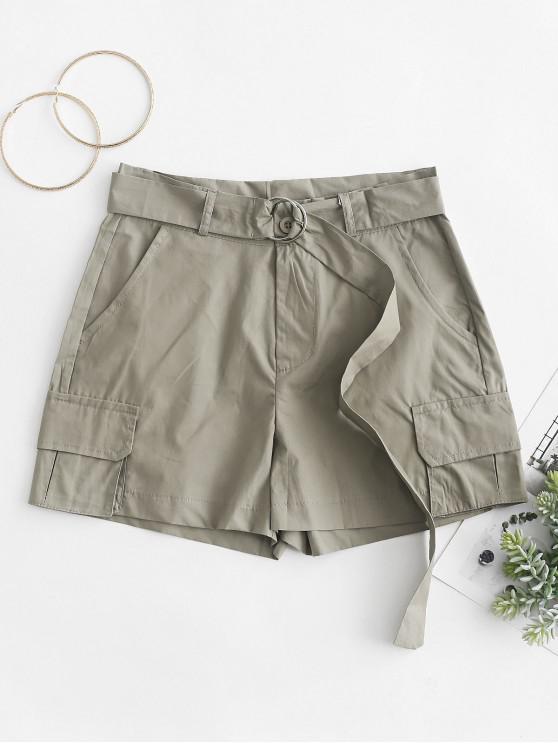 shop Pockets Solid Color Belted Shorts - LIGHT KHAKI 2XL