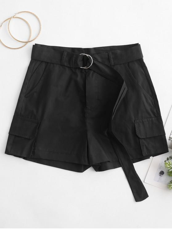 trendy Pockets Solid Color Belted Shorts - BLACK 2XL