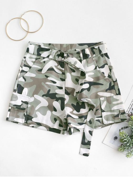 best Pockets Camouflage Belted Shorts - ACU CAMOUFLAGE L