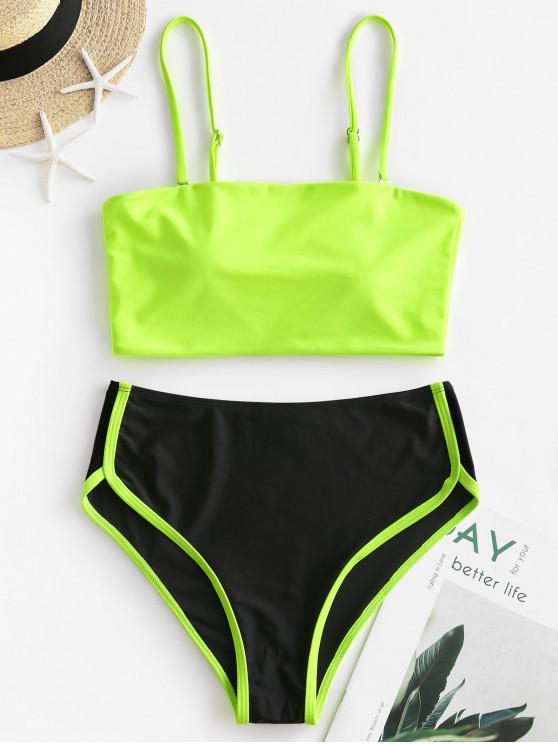 online ZAFUL Neon Piping High Cut Tankini Swimsuit - MULTI-A XL