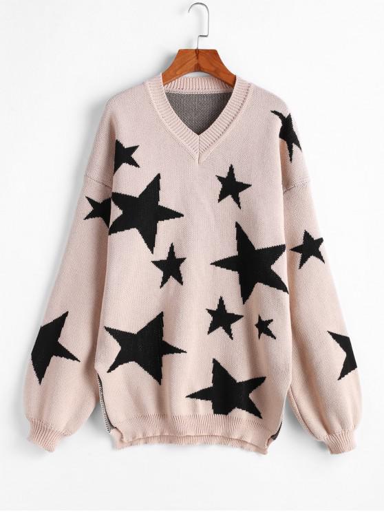womens Slit Stars V Neck Drop Shoulder Sweater - BEIGE ONE SIZE