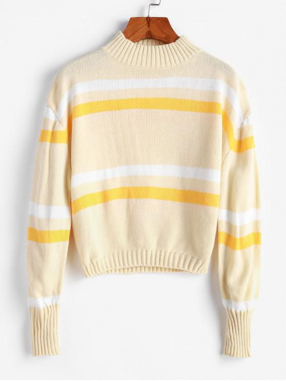 affordable Mock Neck Stripes Panel Pullover Sweater - CREAM L